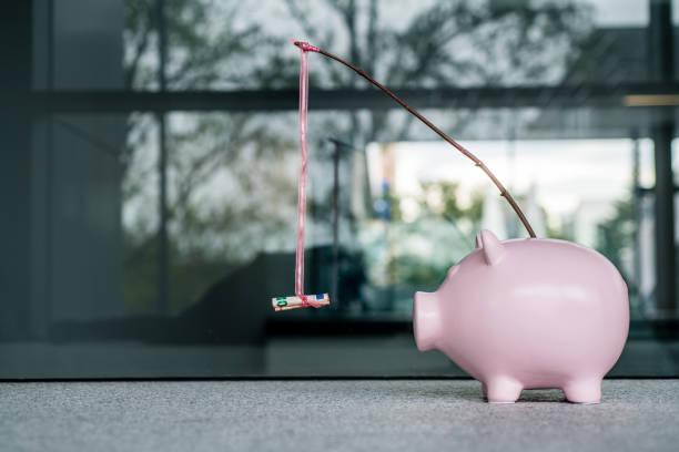 schweinebank mit einem geldkarotten-stick - belohnung stock-fotos und bilder