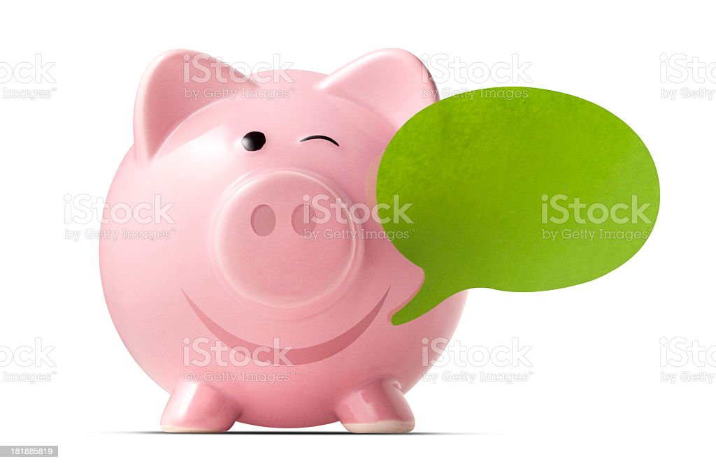 Piggy bank with a post-it note royalty-free stock photo