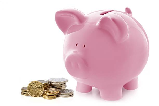 Piggy Bank with Austalian Money stock photo