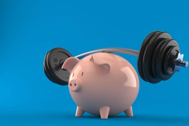 Piggy bank with barbell - foto stock