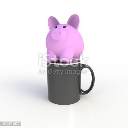 904387004 istock photo Piggy bank with black coffee cup isolated on white background. Mock up Template for application design. Exhibition equipment. Set template for the placement of the logo. 3D rendering. 910371672