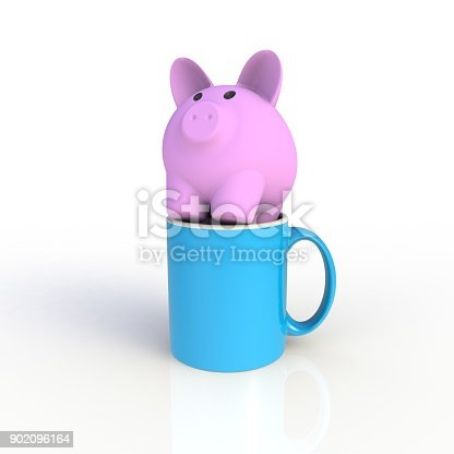904387004 istock photo Piggy bank with blue coffee cup isolated on white background. Mock up Template for application design. Exhibition equipment. Set template for the placement of the logo. 3D rendering. 902096164