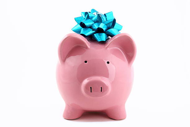 Piggy Bank with Bow stock photo