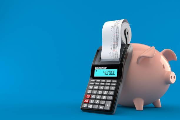 Sparschwein mit Taschenrechner – Foto