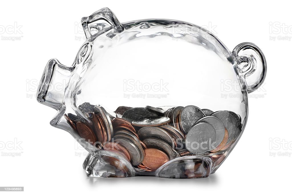 piggy bank with change royalty-free stock photo