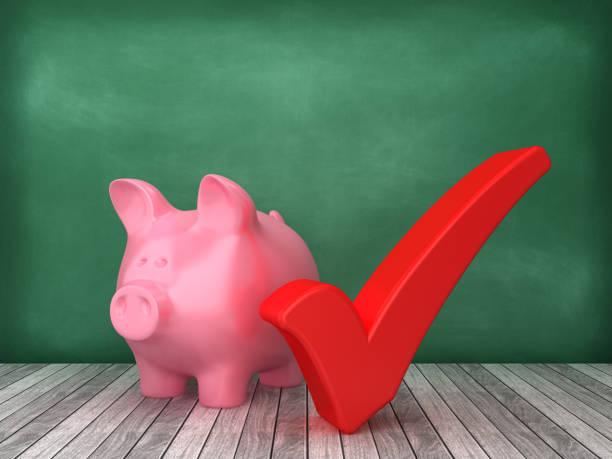 Piggy Bank mit Scheck-Zeichen auf Tafel Hintergrund - 3D Rendering – Foto