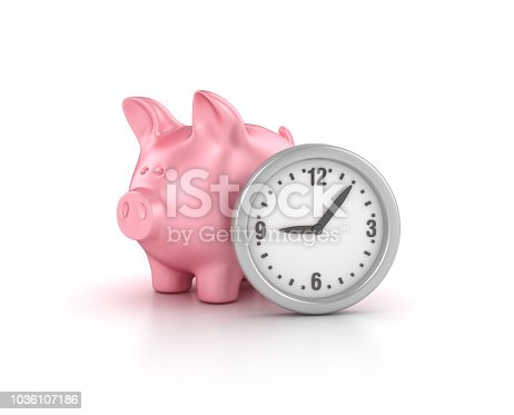 istock Piggy Bank with Clock - 3D Rendering 1036107186