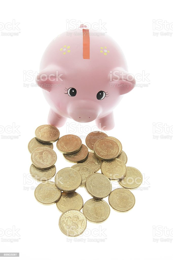 Piggy Bank with Coins royalty free stockfoto