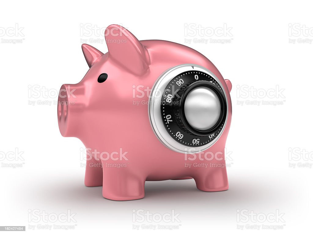 piggy bank with combination lock royalty-free stock photo