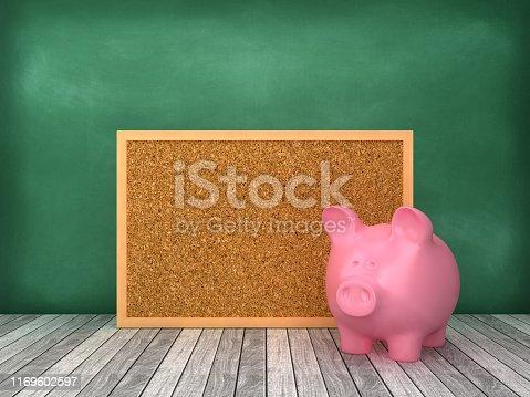 Piggy Bank with Corkboard Frame on Chalkboard Background - 3D Rendering