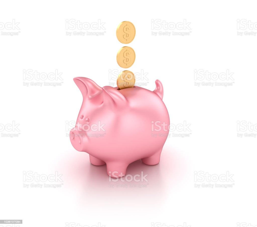 Piggy Bank with Dollar Coins - 3D Rendering stock photo