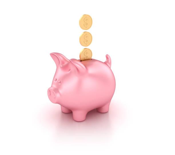 Sparschwein mit Dollar-Münzen - 3D Rendering – Foto