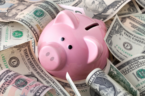 Piggy Bank With Dollars Banknotes Stock Photo - Download Image Now