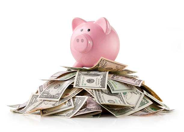 piggy bank with dollars banknotes - piggy bank stock photos and pictures
