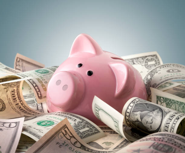 Piggy bank with dollars banknotes stock photo