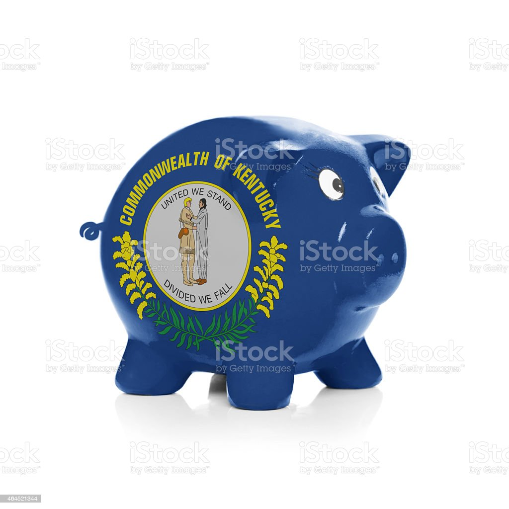 Piggy bank with flag over it - Commonwealth of Kentucky stock photo