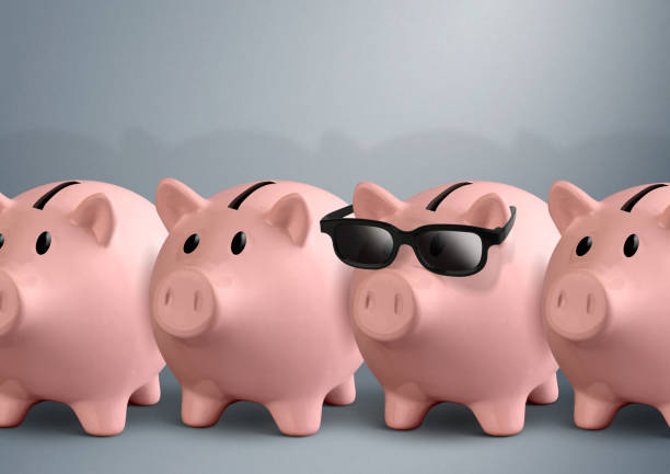 Piggy bank with glasses, finance concept stock photo