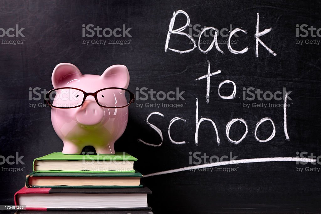 Piggy bank with glasses on books in front of a chalkboard stock photo