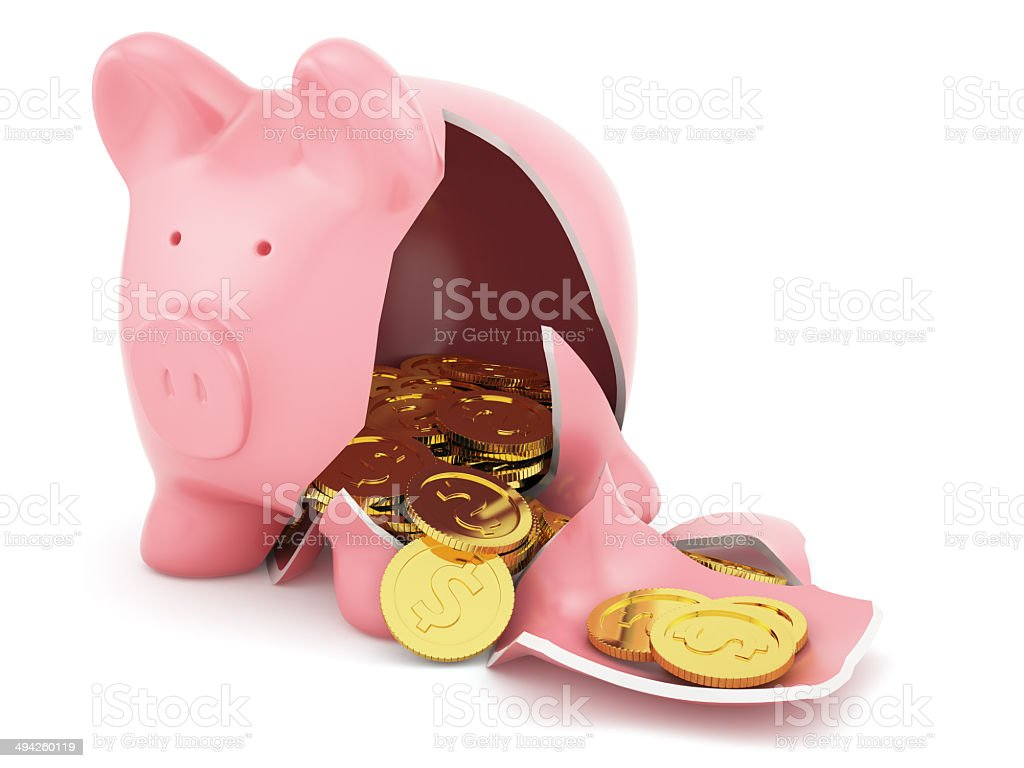 Piggy bank with golden coins stock photo