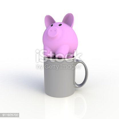 istock Piggy bank with gray coffee cup isolated on white background. Mock up Template for application design. Exhibition equipment. Set template for the placement of the logo. 3D rendering. 911925702
