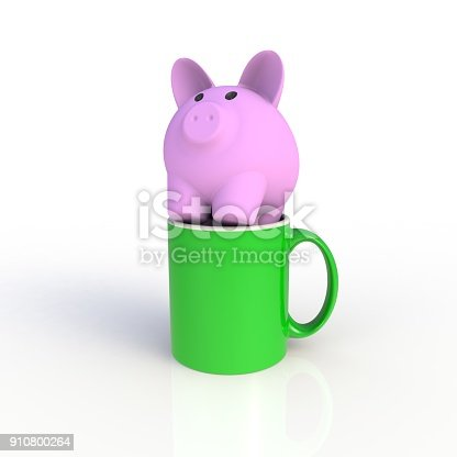904387004 istock photo Piggy bank with green coffee cup isolated on white background. Mock up Template for application design. Exhibition equipment. Set template for the placement of the logo. 3D rendering. 910800264