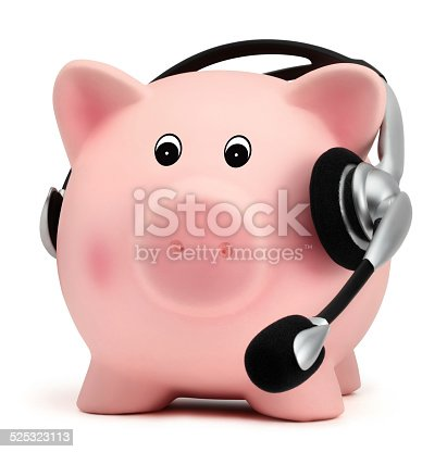 piggy bank with headset isolated on white background