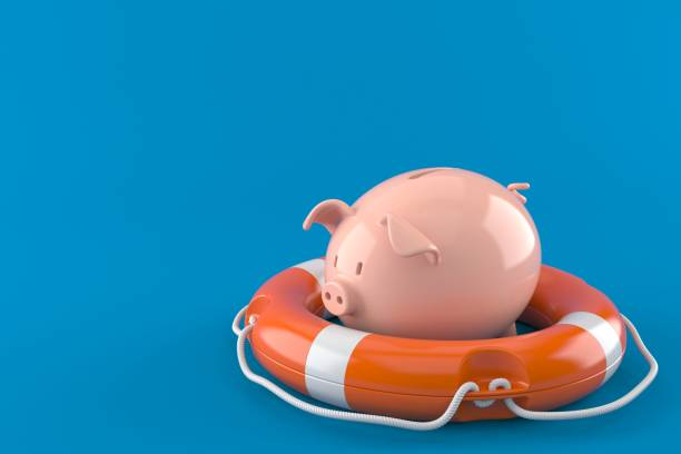 Piggy bank with life buoy - foto stock