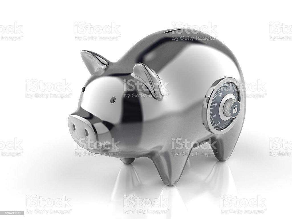 Piggy Bank with Lock stock photo