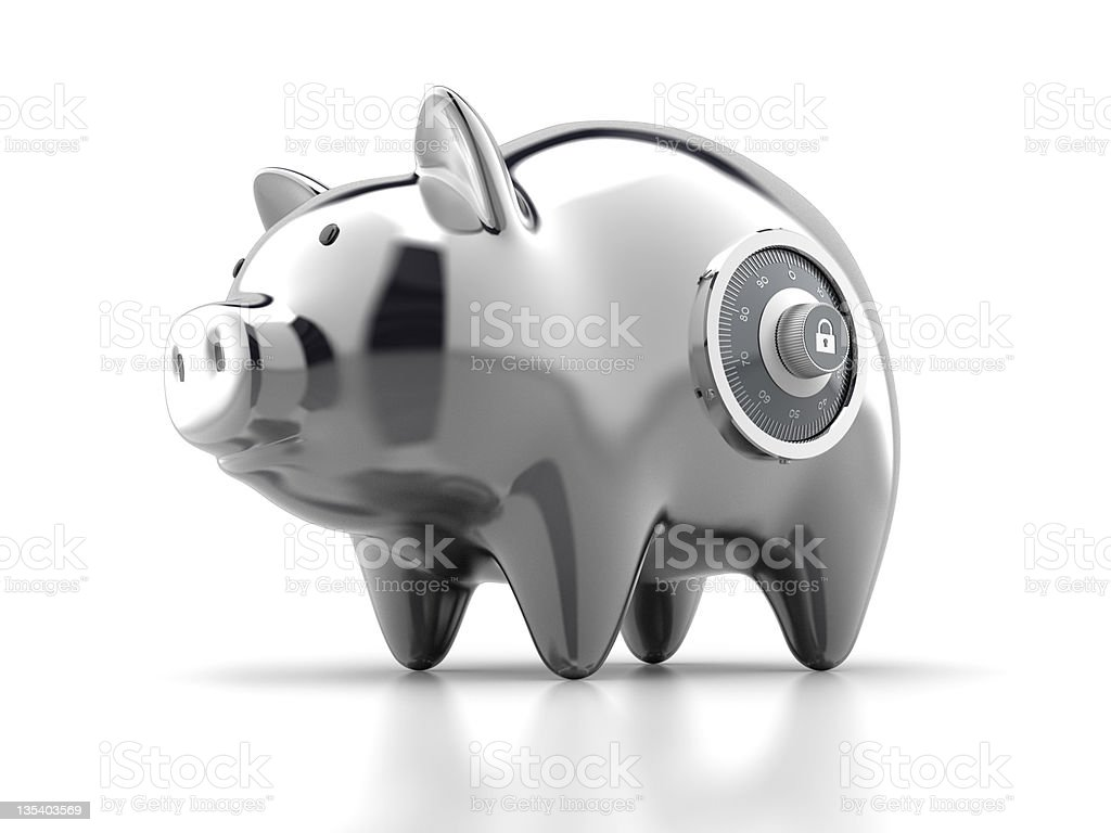 Piggy Bank with Lock stock photo