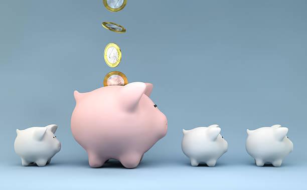 Sparschwein mit Geld Münzen – Foto