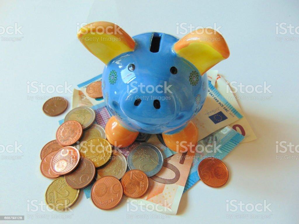 piggy bank with money stock photo