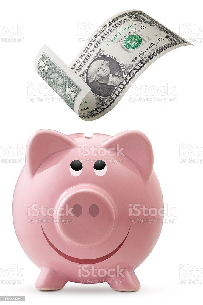 Piggy bank with one dollar bill stock photo