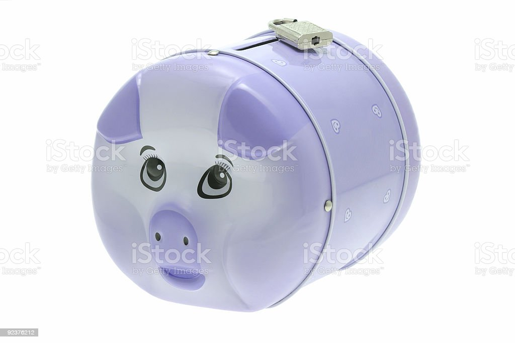 Piggy bank with padlock royalty-free stock photo