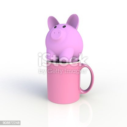 904387004 istock photo Piggy bank with pink coffee cup isolated on white background. Mock up Template for application design. Exhibition equipment. Set template for the placement of the logo. 3D rendering. 908872248