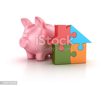 istock Piggy Bank with Puzzle House - 3D Rendering 1036784646