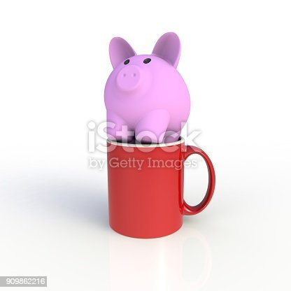 904387004 istock photo Piggy bank with red coffee cup isolated on white background. Mock up Template for application design. Exhibition equipment. Set template for the placement of the logo. 3D rendering. 909862216