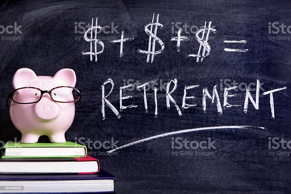 Piggy Bank with retirement formula royalty-free stock photo