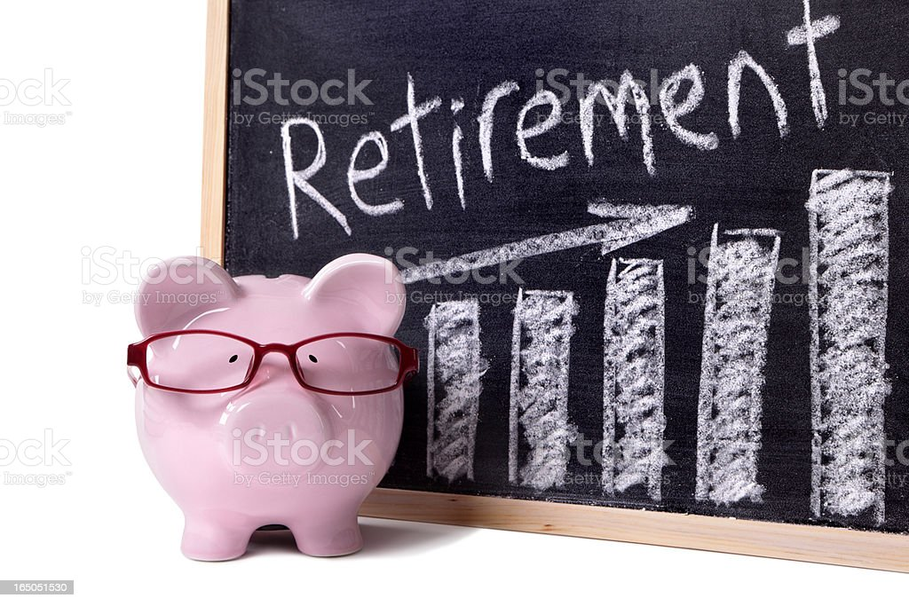 Piggy Bank with retirement savings chart royalty-free stock photo