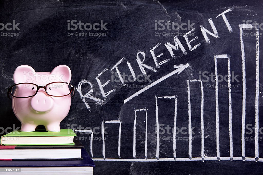 Piggy Bank with retirement savings message royalty-free stock photo