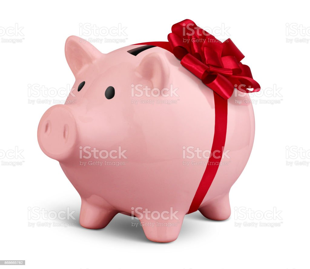 Piggy bank with ribbon isolated on white, money gift concept stock photo