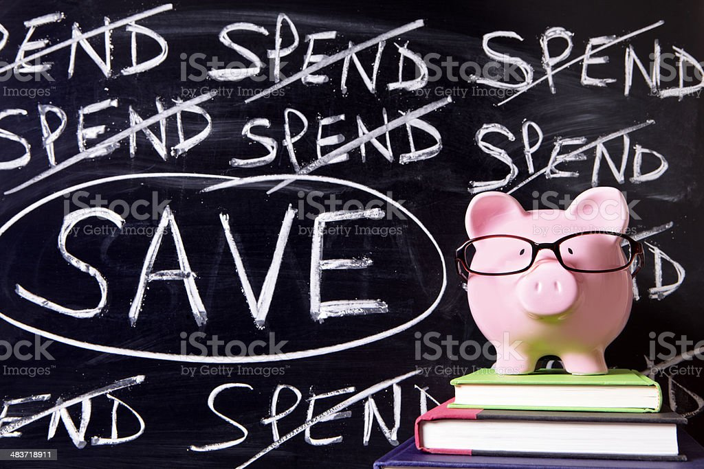 Piggy Bank with savings message royalty-free stock photo