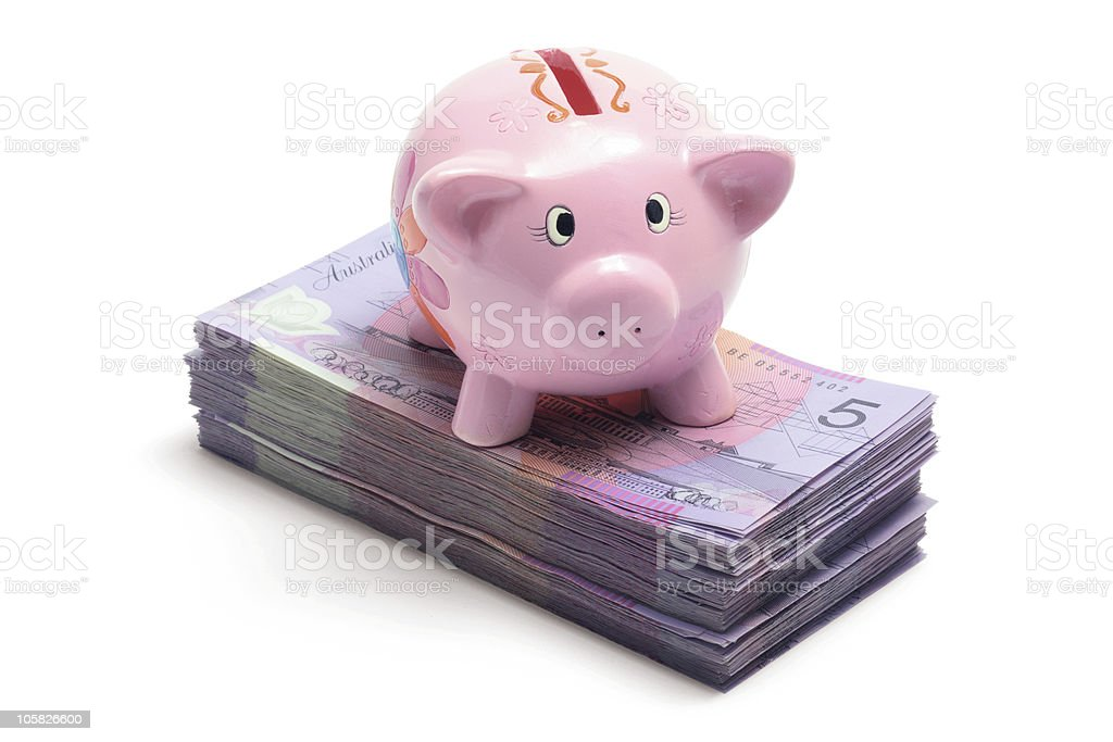 Piggy Bank with Stack of Notes stock photo