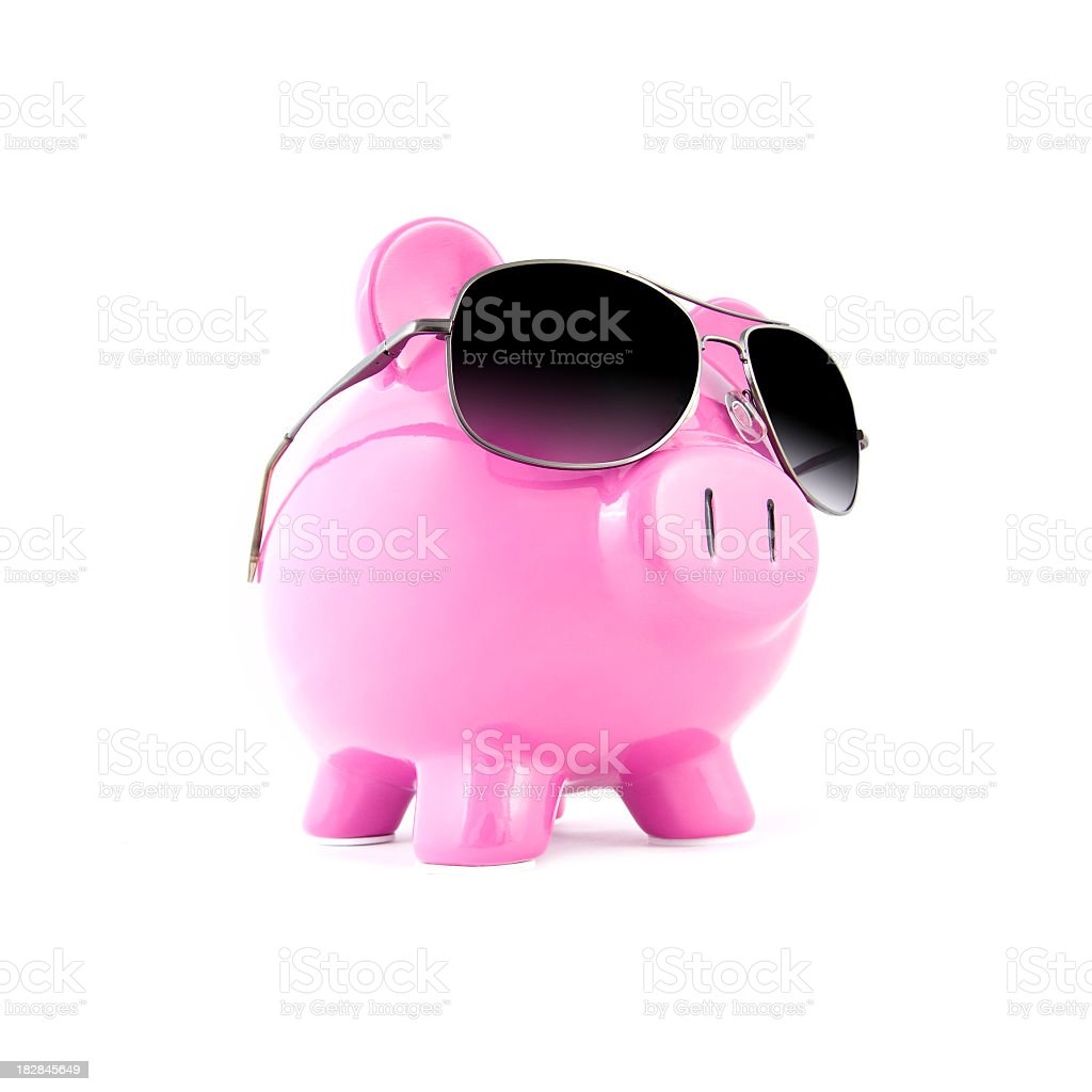 Piggy bank with sunglasses on a white background royalty-free stock photo