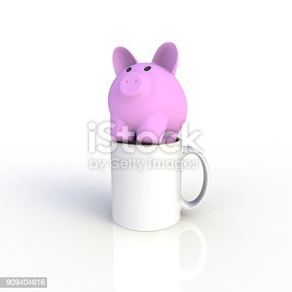904387004 istock photo Piggy bank with white coffee cup isolated on white background. Mock up Template for application design. Exhibition equipment. Set template for the placement of the logo. 3D rendering. 909404616