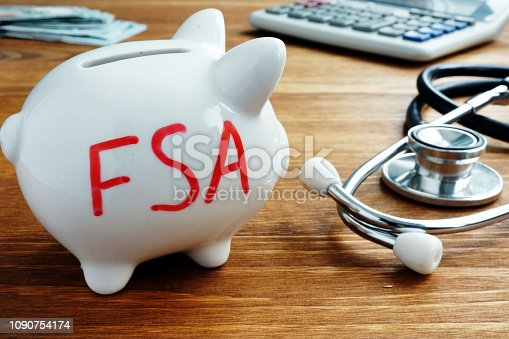 Piggy bank with words Flexible Spending Account FSA.