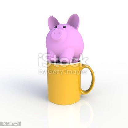 904387004 istock photo Piggy bank with yellow coffee cup isolated on white background. Mock up Template for application design. Exhibition equipment. Set template for the placement of the logo. 3D rendering. 904387004