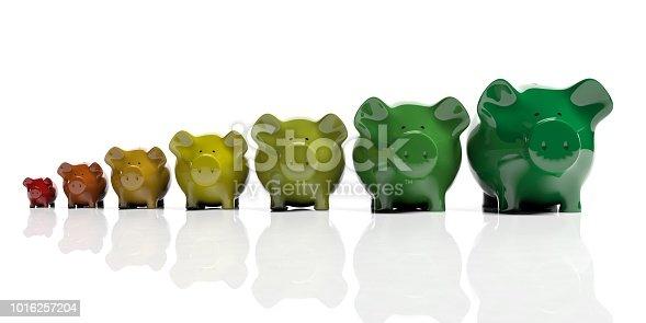 Piggy banks on white background - energy efficiency concept. 3d illustration