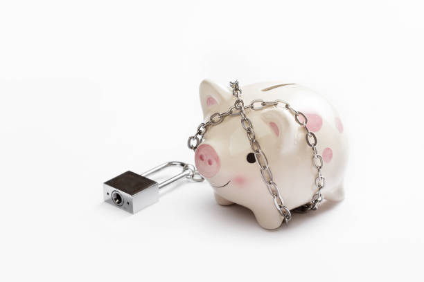 piggy banks is lock by chain and key on white background, saving and financial concept - fare la guardia foto e immagini stock