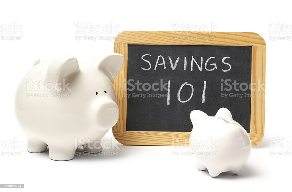 Piggy Banks Learning About Savings royalty-free stock photo