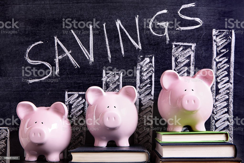 Piggy Banks with savings chart royalty-free stock photo